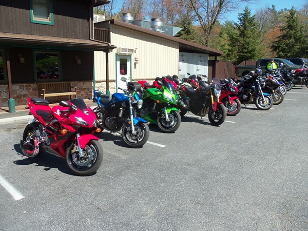 A picture of the bikes at lunch